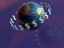 Geld lässt die Welt durchstarten, Dollar. Lizenzfreie Stockfotografie