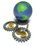 Geld lässt die Welt sich drehen Stockfoto