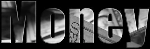Geld Logo With Money Inside Black u. weiße hohe Qualität Lizenzfreie Stockfotografie
