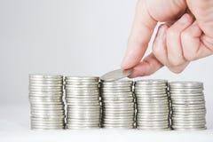 Geld, Münzen und Banknoten Stockfotografie