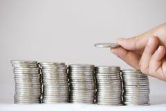 Geld, Münzen und Banknoten Stockfotos