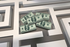 Geld-Maze Find Cash Win Prize-Wettbewerb Lizenzfreies Stockfoto