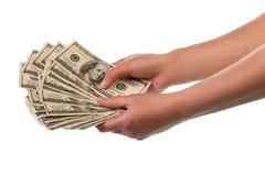 Geld in menselijke handen royalty-vrije stock foto