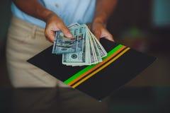 Geld in menselijke handen, vrouwen die dollars geven Royalty-vrije Stock Afbeelding