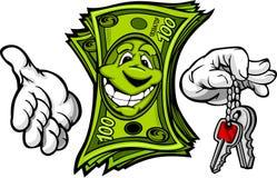 Geld met de Sleutels van de Holding van Handen in Vingers Royalty-vrije Stock Afbeeldingen