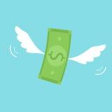 Geld met vleugels stock illustratie