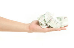 Geld mit der Hand stockbild