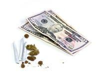 Geld mit Gelenken und Topf Stockbild