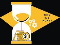 Geld mit Sand-Glas lizenzfreie abbildung
