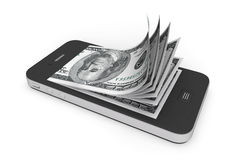 Geld in Mobiele Telefoon Royalty-vrije Stock Fotografie