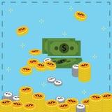 Geld, muntstuk en bankbiljet stock illustratie
