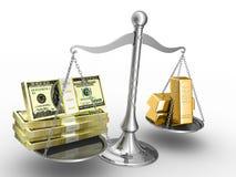 Geld oder Gold? Lizenzfreies Stockbild