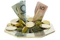 Geld onderaan het afvoerkanaal Stock Afbeeldingen