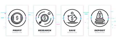 Geld, onderzoek, sparen, storting Het bedrijfsthema glitched zwarte geplaatste pictogrammen stock foto