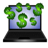 Geld Onlinecomputer herstellen stock abbildung