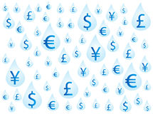 Geld op dalingen Stock Foto