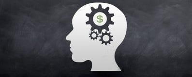 Geld op de Hersenen Royalty-vrije Stock Afbeeldingen