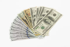 Geld op de witte achtergrond stock foto's