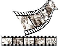 Geld op een filmfilm. Stock Foto's