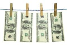 Geld op een kabel stock foto