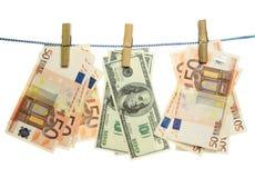 Geld op een kabel Royalty-vrije Stock Afbeelding