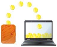 Geld op Internet Stock Fotografie