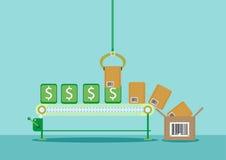 Geld op Lopende band omgezet in Producten royalty-vrije illustratie