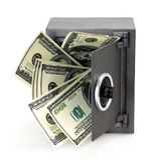Geld in open brandkast Royalty-vrije Stock Foto's