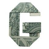 Geld-Origami BESCHRIFTET G-Charakter sich faltete mit wirklichem Dollar Bill Isolated lizenzfreies stockbild