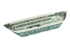 Geld-Origami-BOOT gefaltetes Kanu lizenzfreie stockbilder