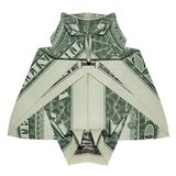 Geld-Origami großes kluges OWL Bird Folded mit wirklichem Dollar Bill White Background stockfotos