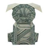 Geld-Origami-Hündchen faltete sich mit wirklichem Dollar Bill Isolated lizenzfreies stockbild