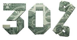 Geld-Origami 30 Prozent-Verkaufs-Zeichen stockbilder
