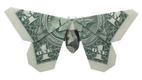 Geld-Origami SCHMETTERLING wirklicher Dollar Bill Isolated auf weißem Hintergrund lizenzfreie stockbilder