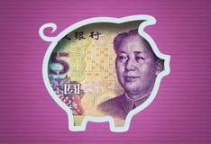 Geld-Piggy Querneigung Stockfoto