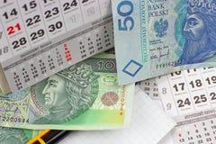 Geld PLN op een kalender Royalty-vrije Stock Fotografie