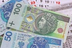 Geld PLN op een kalender Royalty-vrije Stock Foto's