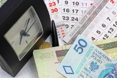 Geld PLN op een kalender Stock Foto