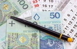 Geld PLN op een kalender Royalty-vrije Stock Afbeelding