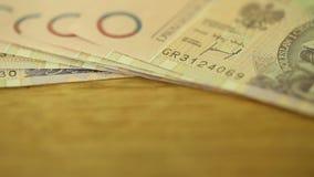 Geld-polnischer Zloty stock footage