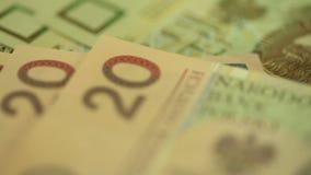 Geld-polnischer Zloty stock video footage