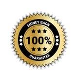 Geld-Rückseite mit der 100 Prozent-Garantiemarke-goldenen Medaille lokalisiert Lizenzfreie Stockfotografie