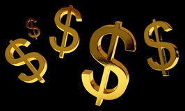 Geld-Regen-Schwarzes Stockbild