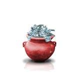 Geld in rode pot stock afbeelding