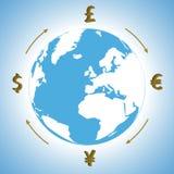 Geld rond de wereld Royalty-vrije Stock Fotografie