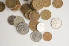 Geld Russland Münzen sind silbern und Gold Lizenzfreies Stockfoto