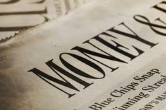 Geld-Schlagzeile Colse-Up lizenzfreies stockfoto