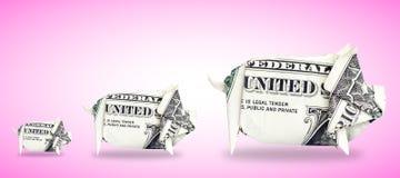 3 Geld-Schweine stockfotos