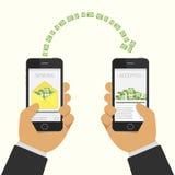 Geld senden und empfangend lizenzfreie abbildung