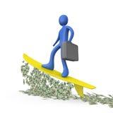 Geld-Surfen Stockfoto